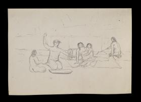 Study of Group in Lodge Interior