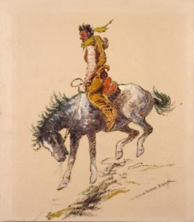 Cowboy Wearing Chartreuse Scarf on Bucking Horse