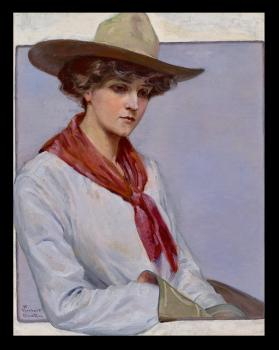 Cowgirl with Red Scarf