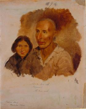 "Asabonish or ""The Raccoon,"" Ottawa Chief, with his Daughter"