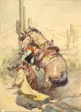 Cowboy Shielding Himself and Horse with Overcoat from Snake