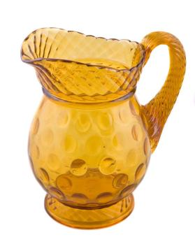 Amber Inverted Thumbprint Water Pitcher